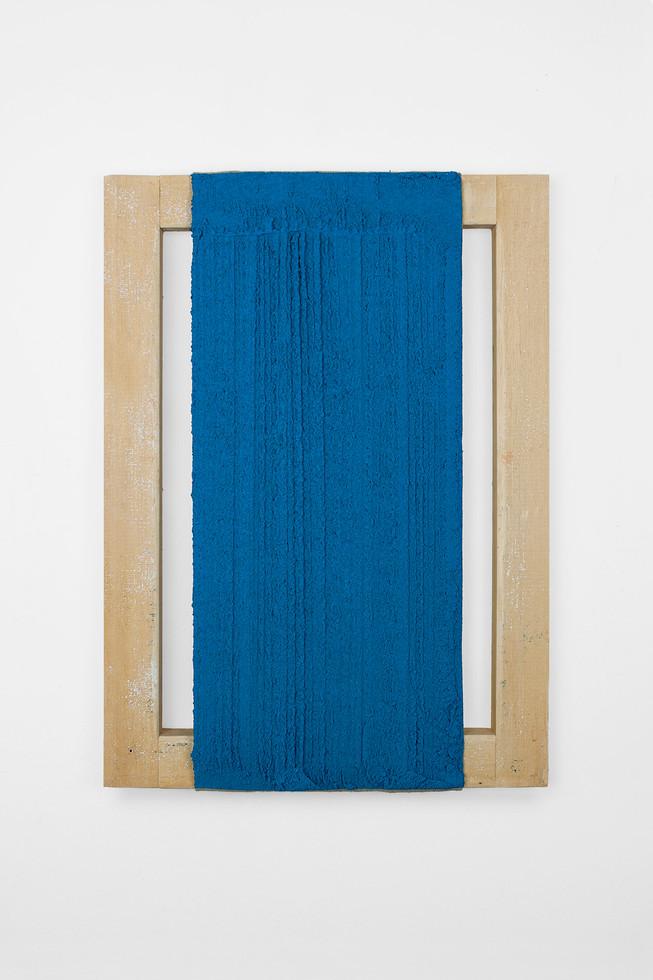 Senda, 2019. Acrylic, sand, limestone an wood. 56 x 40 cm.