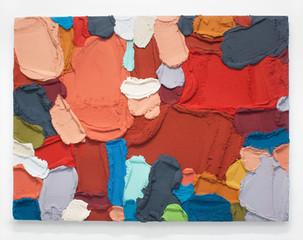 PR52, 2021. Acrylic, sand and limestone on wood panel, 90 x 121 cm.