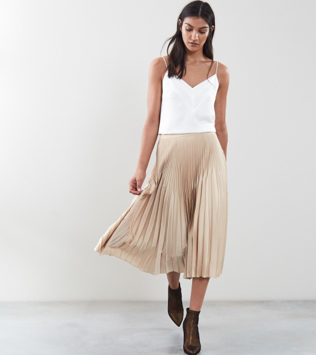 Isidora pleated metallic skirt from Reiss