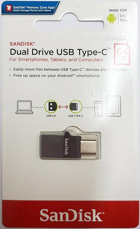 SanDisk Dual Drive USB 2.0 Type-C Flash Drive (SDDDC1)