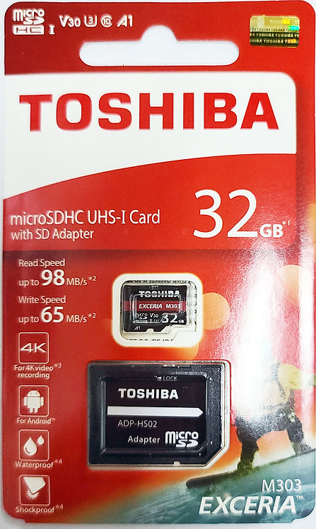 Toshiba EXCERIA M303 Micro SD with SD Adapter (THN-M303R-A2)