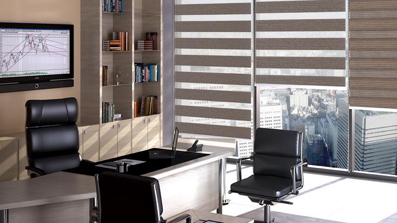 рулонные шторы для офиса-зебра