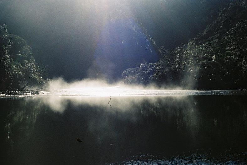 Arielle Walker film photograph Taongaporutu River mist, Taranaki