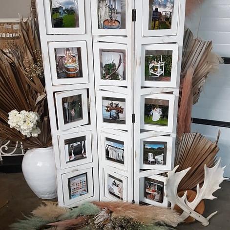 Vintage white photo display stand