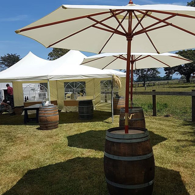 Our cute wee marquee and wine barrels wi