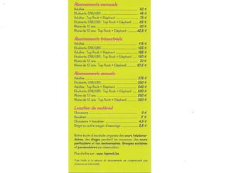 Les tarifs de la salle d'escalade
