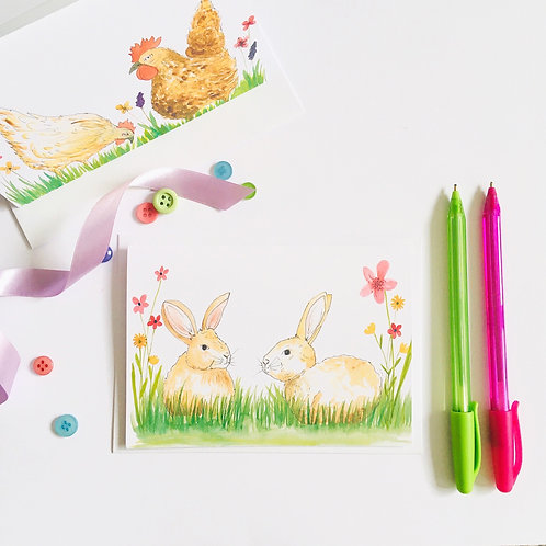 Chicken & Bunny Cards (pack of 8)