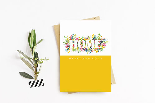NEW HOME Floral Yellow Card