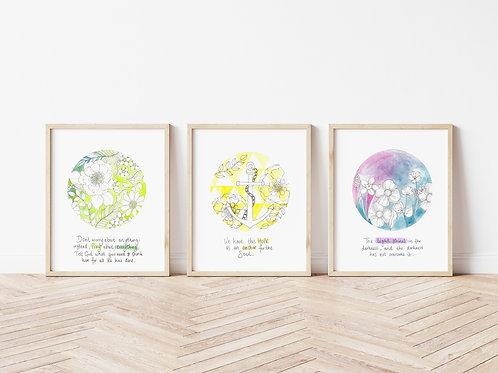 Floral Circle Verse Trio (set of 3 prints)