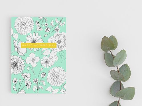 CONTRAST FLORAL MOTHERS DAY CARD