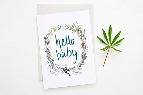 'HELLO BABY' card (teal)