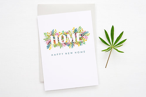 NEW HOME Floral Card