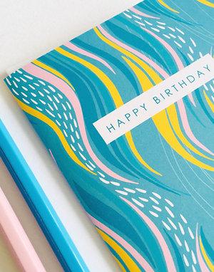 BLUE FLOW BIRTHDAY CARD