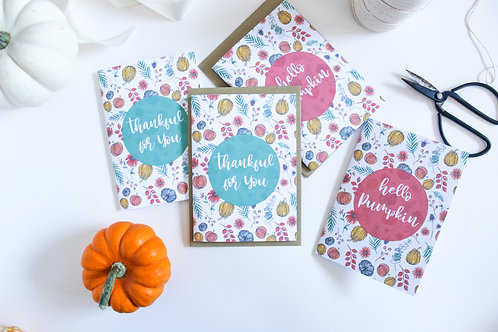 AUTUMN PUMPKIN CARDS (Pack of 8)