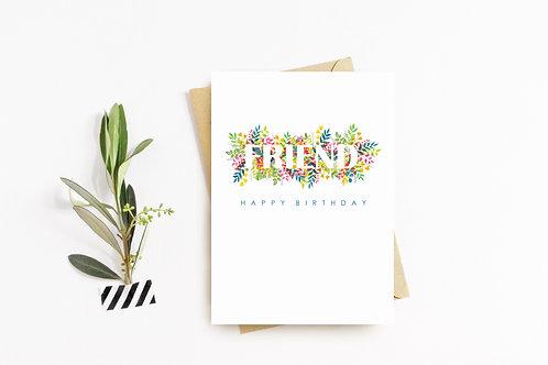 FRIEND Floral 'Birthday' Card
