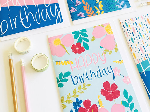 'Happy Birthday' Flowers Card