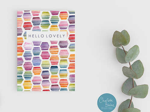 'HELLO LOVELY' RAINBOW HEXAGON Card