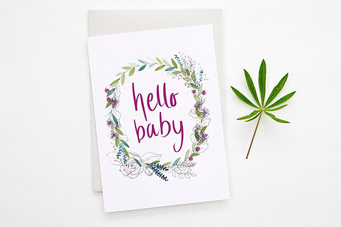 'HELLO BABY' card (pink)