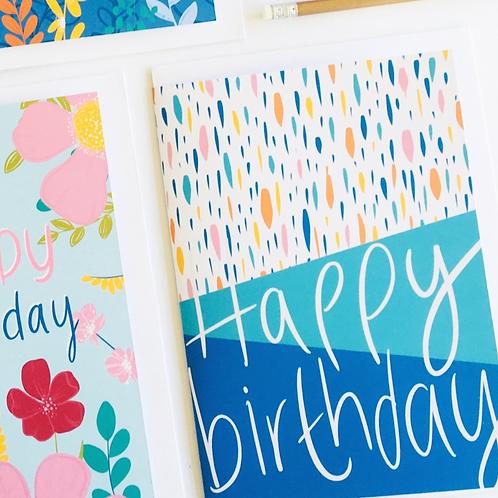 'Happy Birthday' Turquoise Dash Card