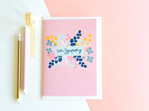 Pink Floral 'With Sympathy' Card