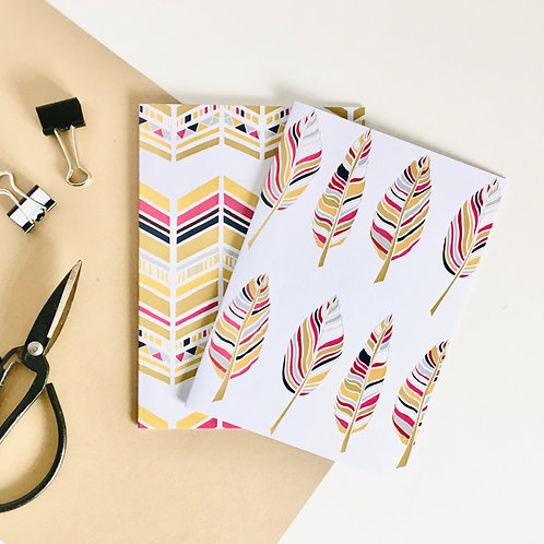 'FEATHER/CHEVRON NOTECARDS' PACK OF 8