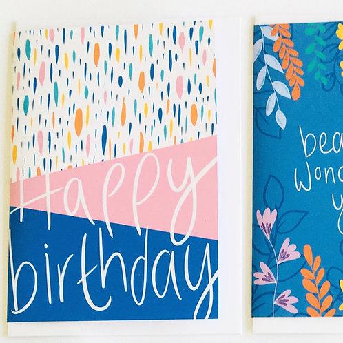 'Happy Birthday' Pink Dash Card