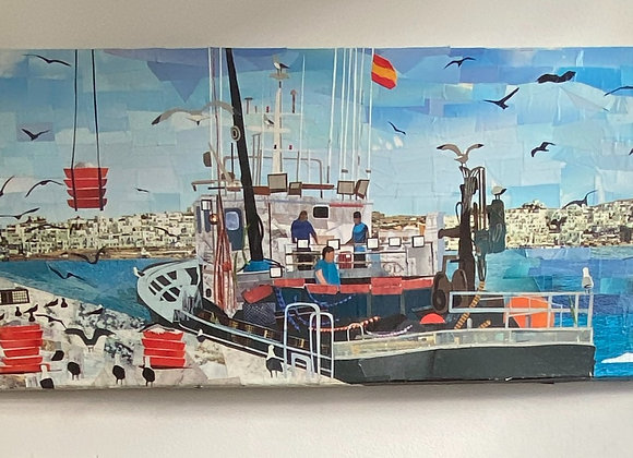Fishing boat in Vigo harbour Spain on canvas