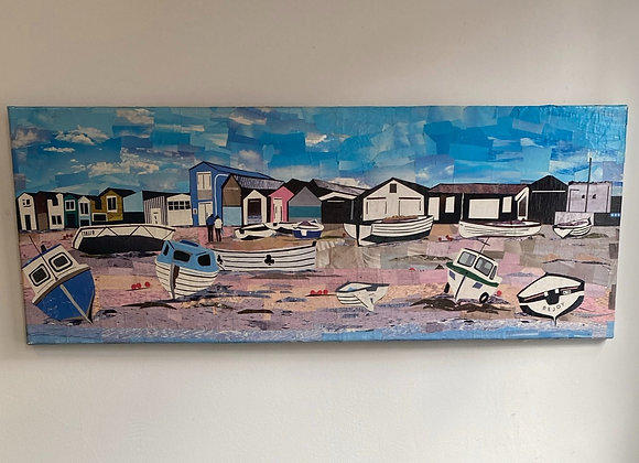 Teignmouth Back beach Devon beach huts and boats on canvas