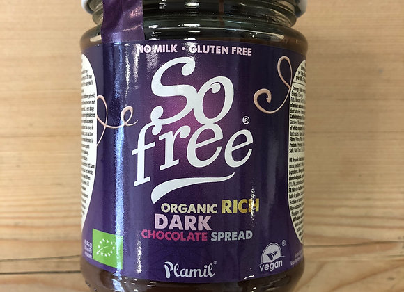 So free organic dark chocolate spread in glass jar gluten and dairy free