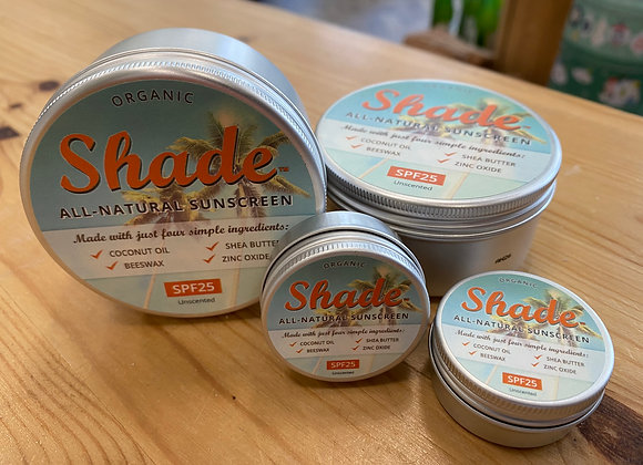 Shade all natural plastic free sunscreen SPF 25 unscented 15ml and 100ml in metal tins