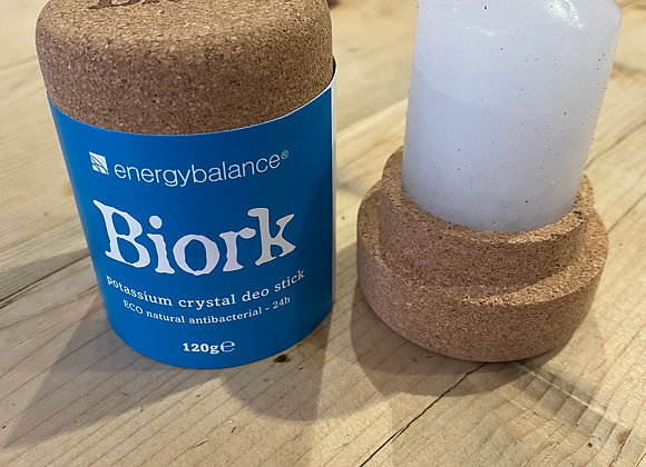 Biork 100% natural potassium crystal deodorant in plastic free cork packaging