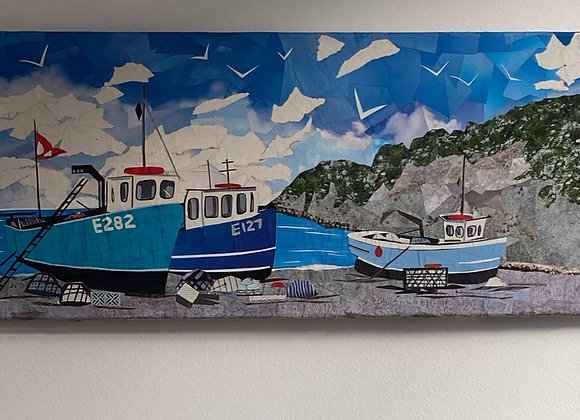 Fishing boats at Beer, Devon on canvas