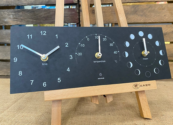 A short walk recycled paper clock, temperature and moon cycle on wooden easel