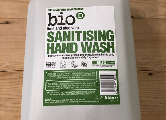 Bio-D plastic free sanitising hand wash with lime and aloe vera refill