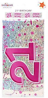 9FT FEMALE 21ST BIRTHDAY BANNER