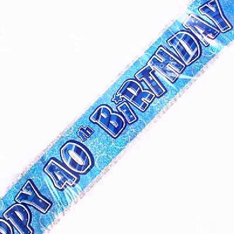 9FT BLUE GLITZ 40TH FOIL BANNER