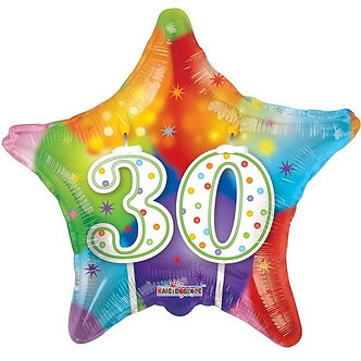 18IN STAR 30TH BIRTHDAY CANDLES FOIL