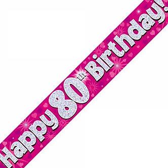 9FT 80TH BIRTHDAY PINK BANNER