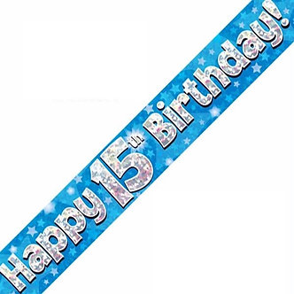 9FT 15TH BIRTHDAY BLUE BANNER