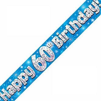 9FT 60TH BIRTHDAY BLUE BANNER