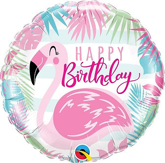 18IN B/DAY PINK FLAMINGO FOIL BALLOON