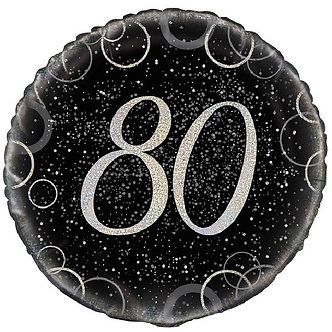 18IN BLACK PRISMATIC 80TH FOIL BALLOON