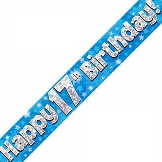 9FT 17TH BIRTHDAY BLUE BANNER