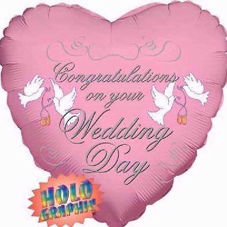 18IN PINK WEDDING DAY FOIL BALLOON