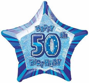 BLUE GLITZ 50TH 20IN FOIL BALLOON