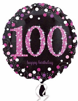 100TH PINK SPARKLES 18IN FOIL