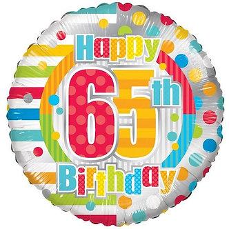 18IN UNISEX HAPPY 65TH BIRTHDAY FOIL
