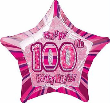 PINK GLITZ 100TH 20IN FOIL BALLOON