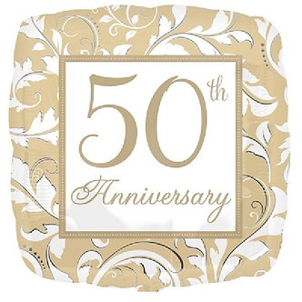 ELEGANT SCROLL 50TH ANNI 18IN FOIL