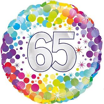 18IN COLOURFUL CONFETTI 65TH B/DAY